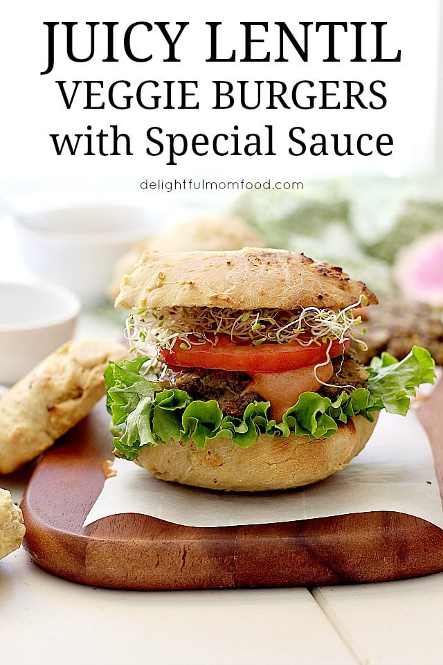 Juicy mouthwatering Veggie Burger made of cooked lentils and zucchini. A flavorful meat-like texture and gluten free patty! #grilled #veggie #burger #lentil #glutenfree #recipe | Delightful Mom Food