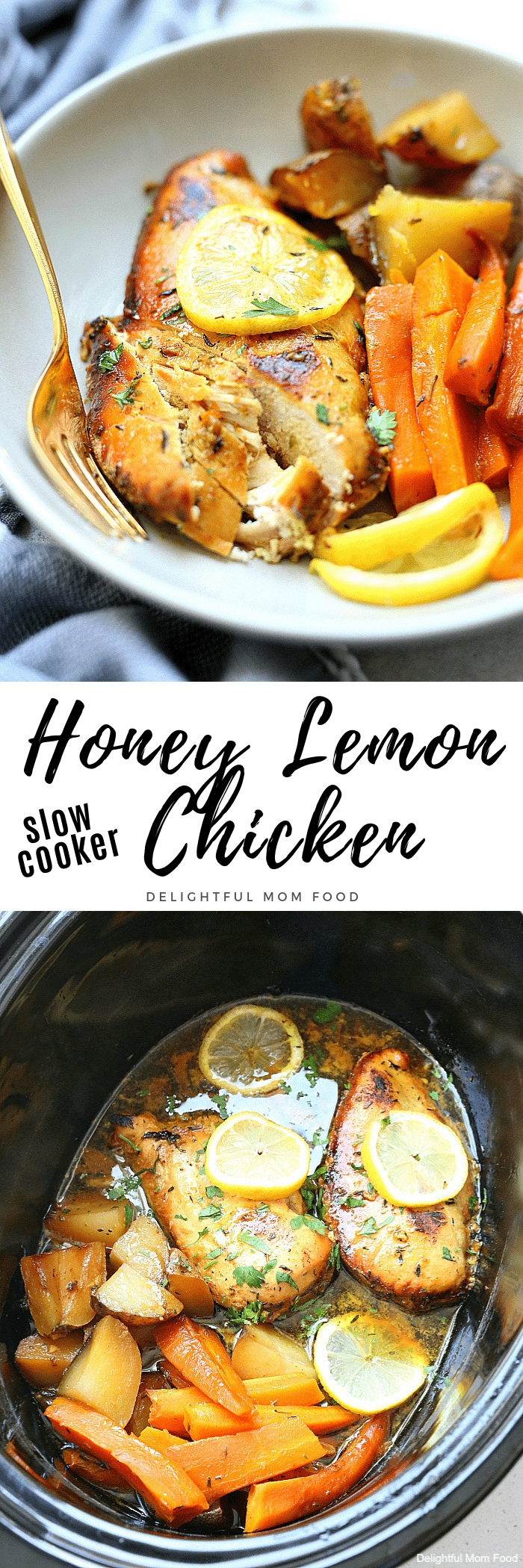 Zesty honey lemon chicken slowly cooked in the slow cooker frees up cooking space and valuable time! The chicken is infused with a marinade of turmeric, honey, lemon and oil creating a delicious meal with a slightly sweet side. #honey #lemon #chicken #recipe #glutenfree #healthy #crockpot #slowcooker | Delightful Mom Food