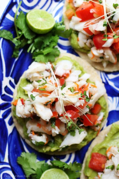recipe for white fish ceviche served on a tostada with homemade guacamole