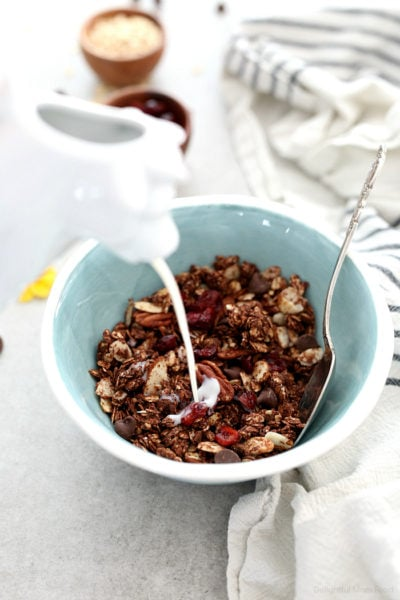 Healthy Chocolate Granola Recipe With Cherries and Pecans