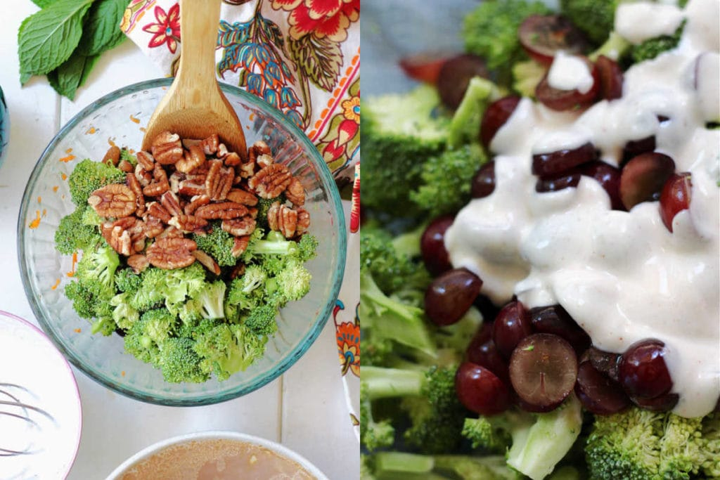 broccoli salad ingredients and poured dressing over grapes and broccoli