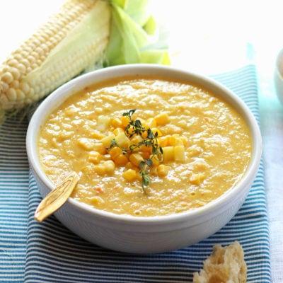 Vegan Corn Chowder Soup (Slow Cooker, Instant Pot, or Stovetop)