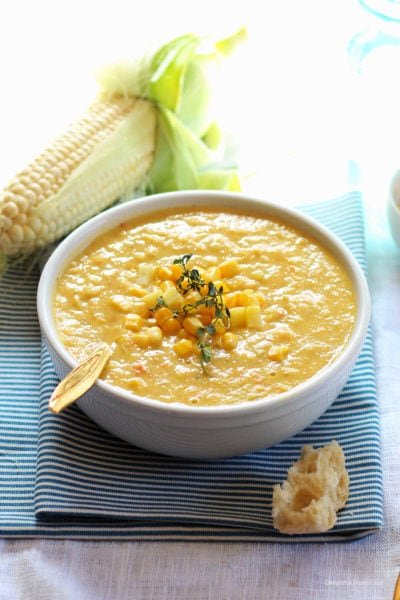 slow cooker instant pot or stovetop vegan chowder made with corn and potatoes