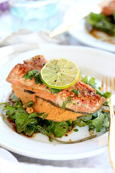 Teriyaki Salmon With Spicy Chickpea Sweet Potato Puree
