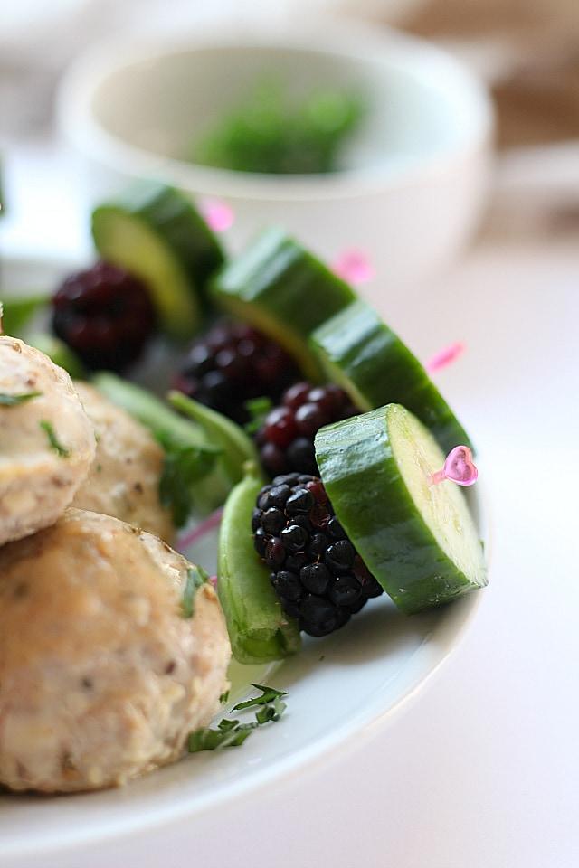 healthy fruit and veggie skewers