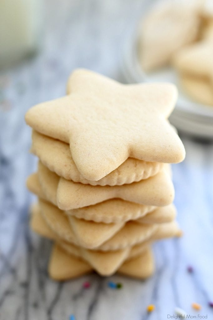 stack of baked gluten free cut out sugar cookies