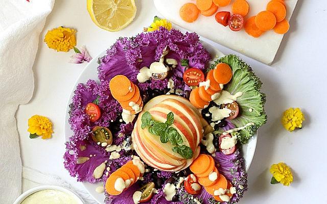 Savoy Cabbage Salad With Apple Cider Tahini Dressing
