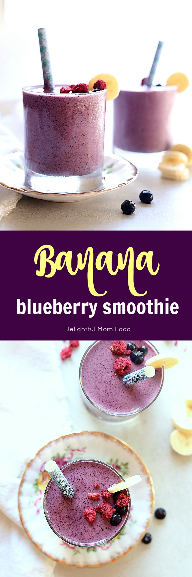 Blueberry Banana Smoothie Dairy Free Delightful Mom Food