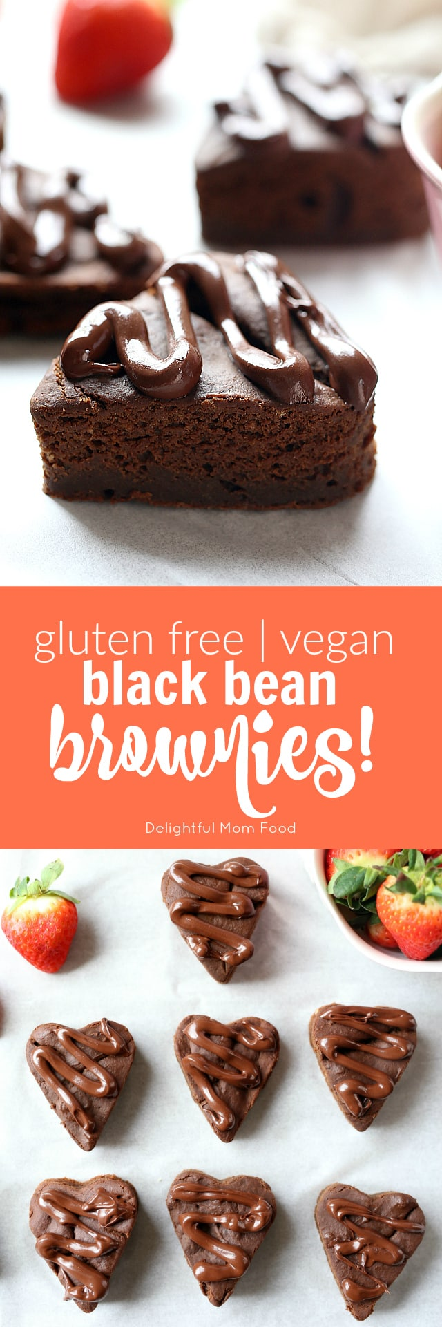 Fluffiest VEGAN black bean brownies! Perfect for Valentine's Day and they are gluten free!