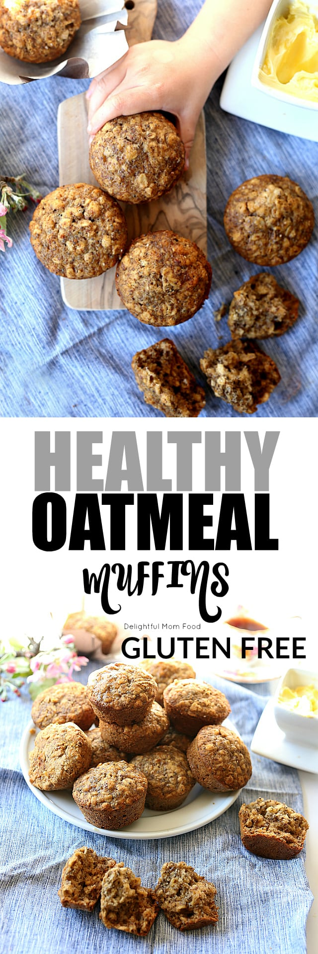 Healthy Gluten Free Oatmeal Muffins! An Oatmeal Bowl baked in a muffin tin! #healthy #oatmeal #chiaseed #glutenfree #muffins | delightfulmomfood.com