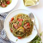 One-Pot Lemony Basil Pesto Pasta