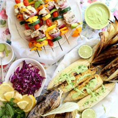 Swordfish Kabobs Grilled With Vegetables, Corn & Cashew Cilantro Sauce