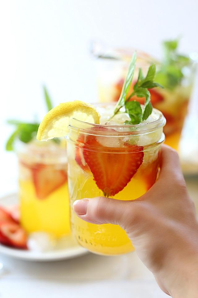 turmeric lemonade in hand