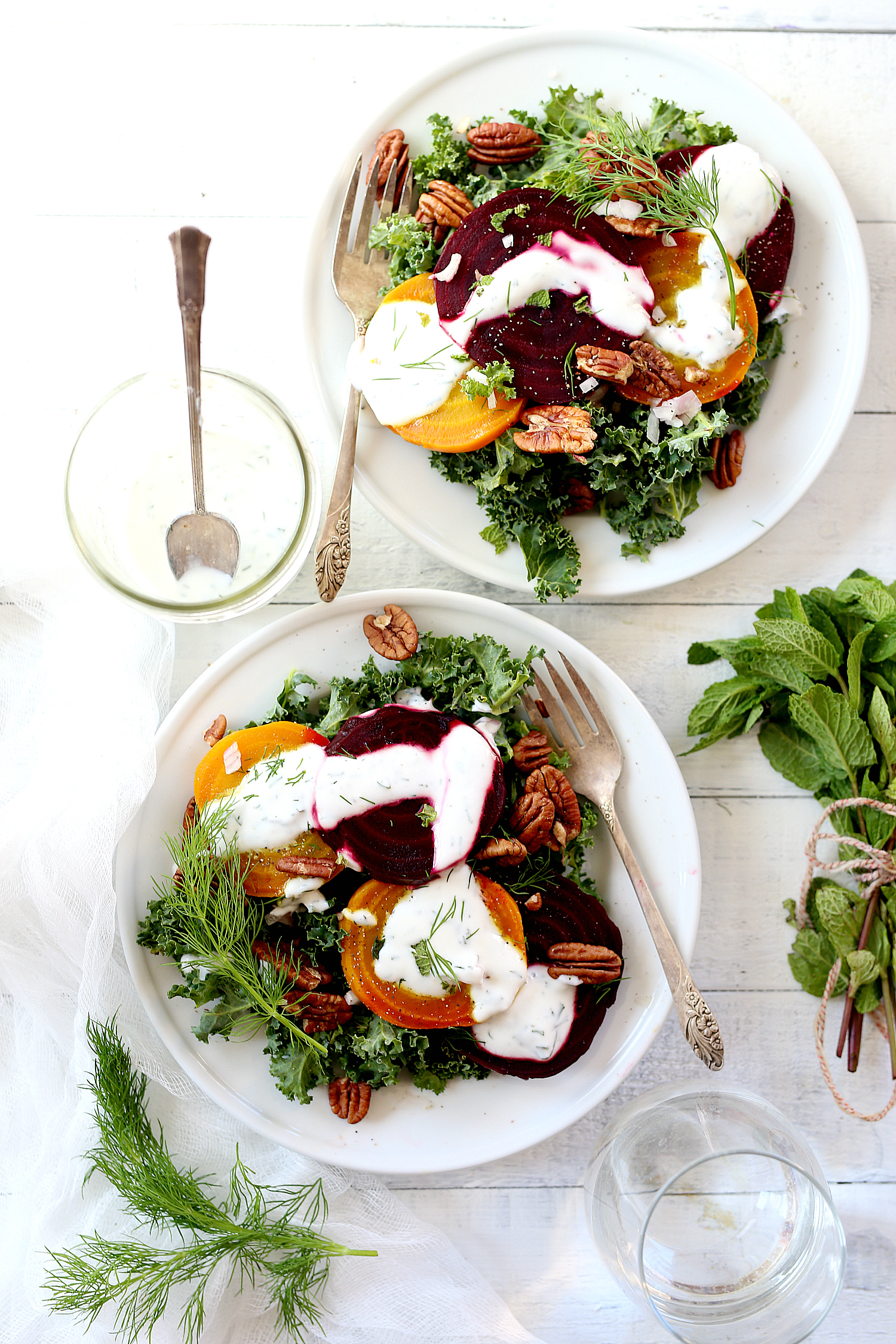 Roasted Beet Kale Salad With Herb Infused Non-Fat Greek Yogurt Dressing! A Greek yogurt dressing that you will want on every meat or vegetarianveggie dish!