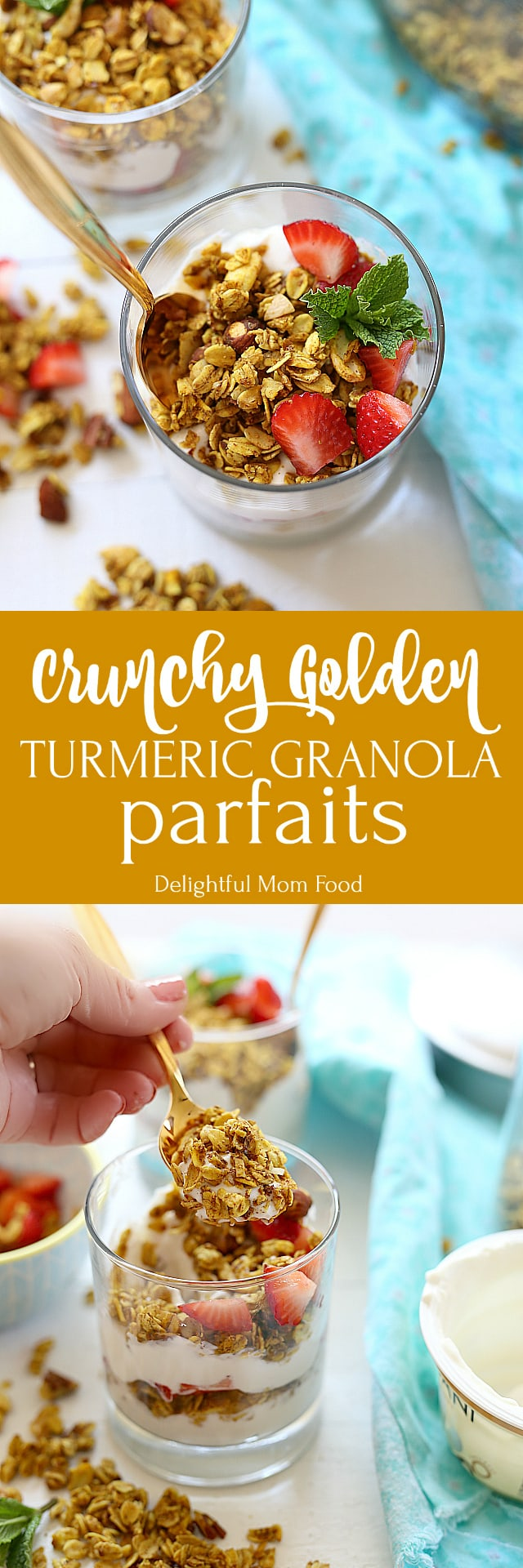 Crunchy turmeric granola parfait recipe that takes turmeric recipes to a whole new delicious level!I love eating turmeric any way I can get it and this turmeric granola is one way my kids will eat it too!
