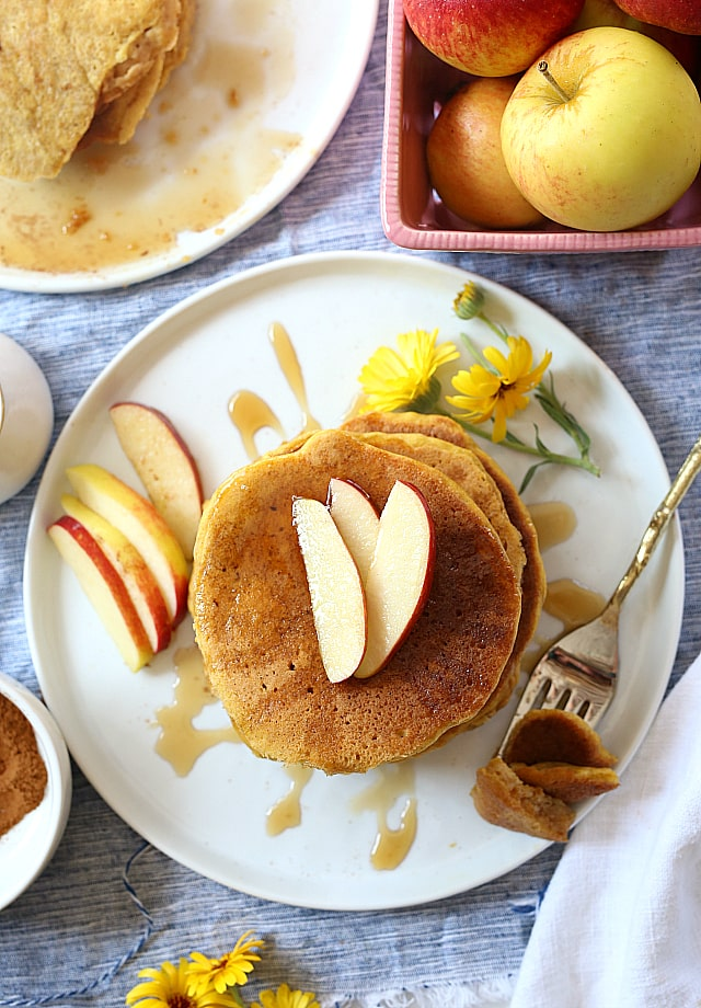 Butternut squash pancakes made with mashed butternut squash (Cucurbita moschata) blended with gluten free flours, egg and dairy-free milk! So easy and healthy for quick breakfast or healthy snack!