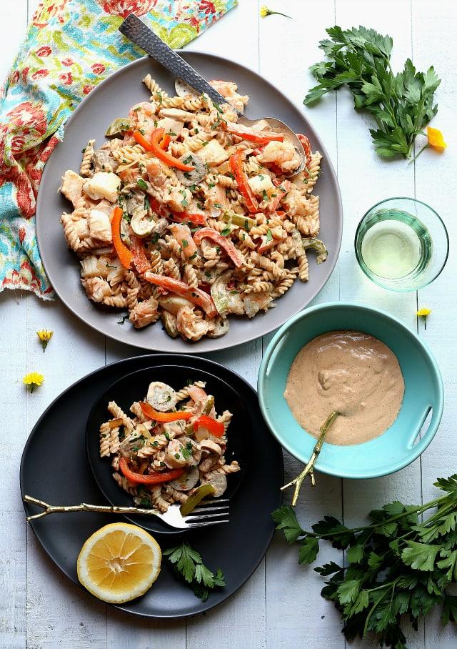 Cajun Scallops Shrimp Pasta Cream Sauce