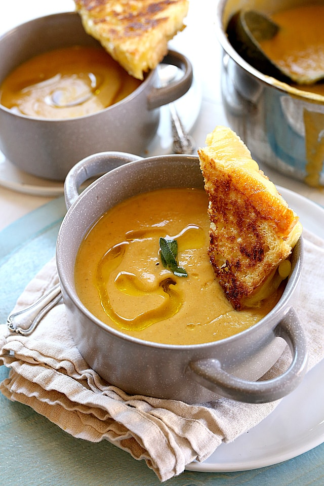Nourishing roasted butternut squash apple soup has all the flavors of fall simmered together after roasting the squash for about 30 minutes. This vegan soup is made with an optional Paleo, Keto, Whole30 version and is a fall favorite all around!