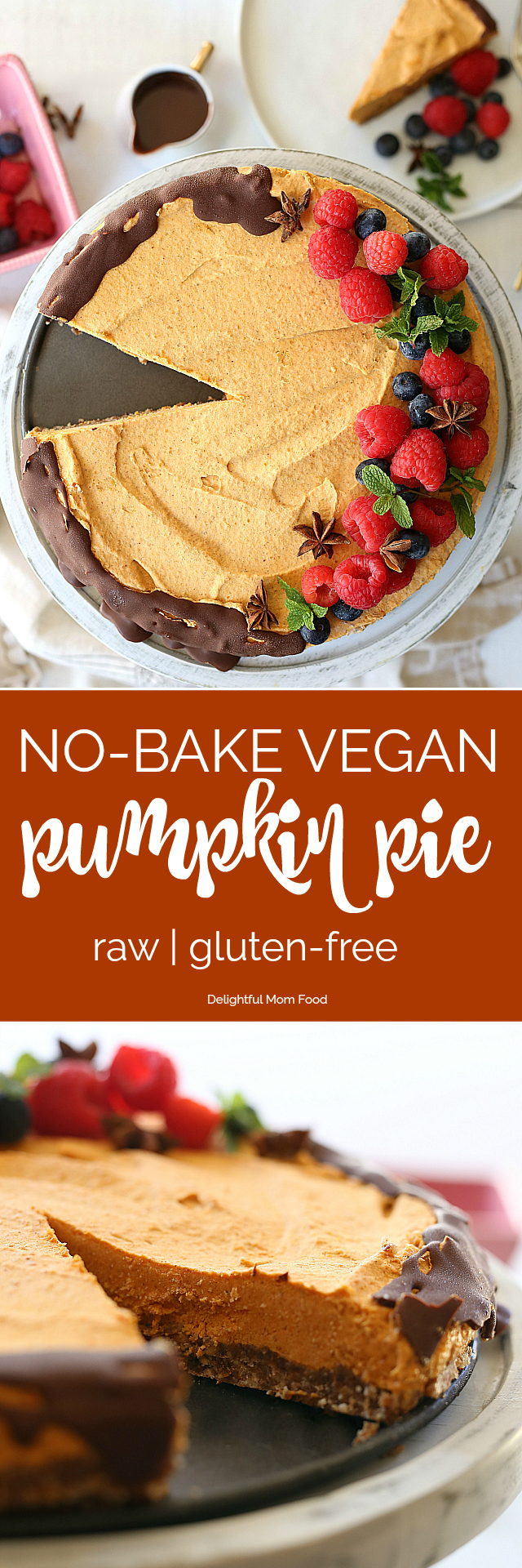 Fluffy vegan no bake pumpkin pie made with a raw date and nut base and coconut cool whip! Delicious served either partially frozen or soft and fluffy!