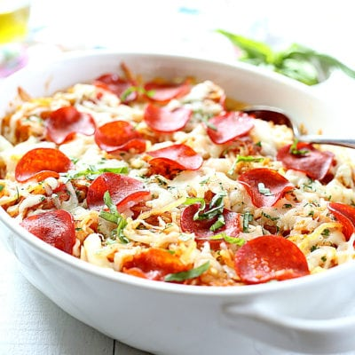 4-Ingredient Baked Spaghetti Squash Pepperoni Pizza Casserole