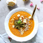 Roasted Cauliflower Red Pepper Pesto Soup