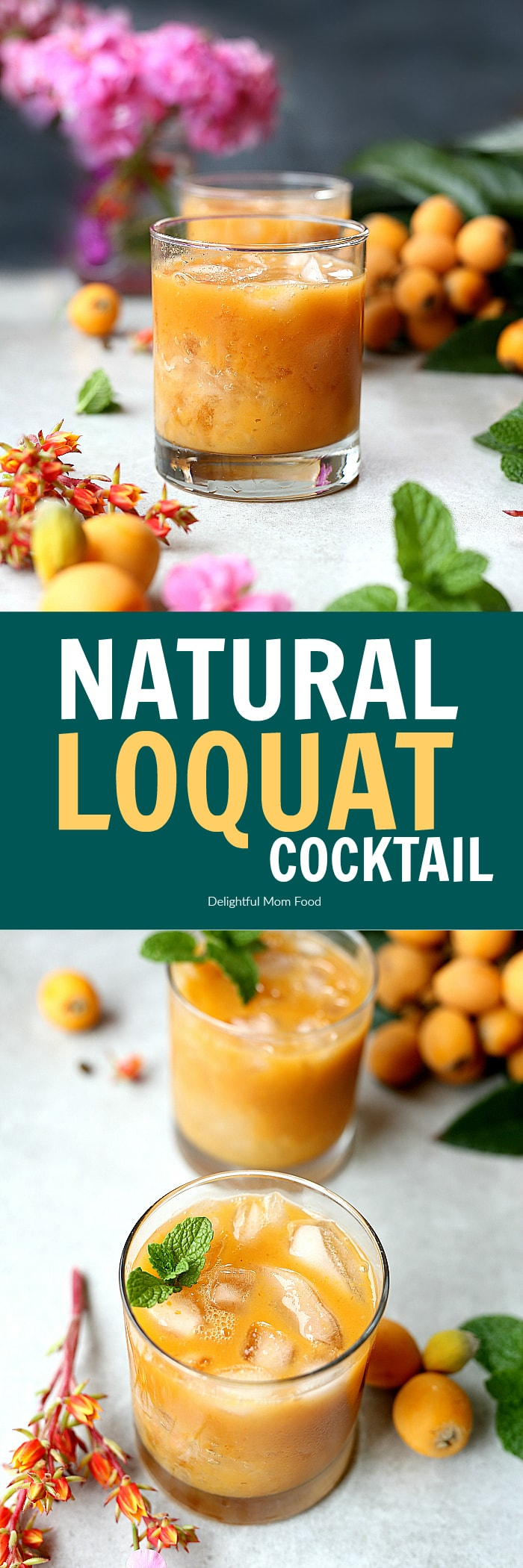 Fresh loquat cocktail recipe mixed in a blender and naturally made with tequila and a splash of sweet orange juice! #cocktail #drinks #recipe #loquat #tequila #glutenfree   Recipe at delightfulmomfood.com