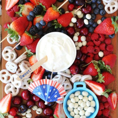Simple Red White and Blue Fresh Fruit Platter