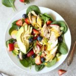 Chicken Spinach Strawberry Salad with Turmeric Almond Dressing