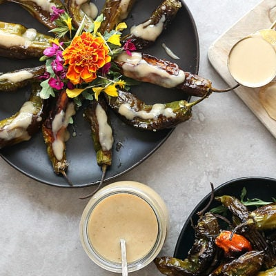 Roasted Shishito Peppers With Garlic Tahini Sauce