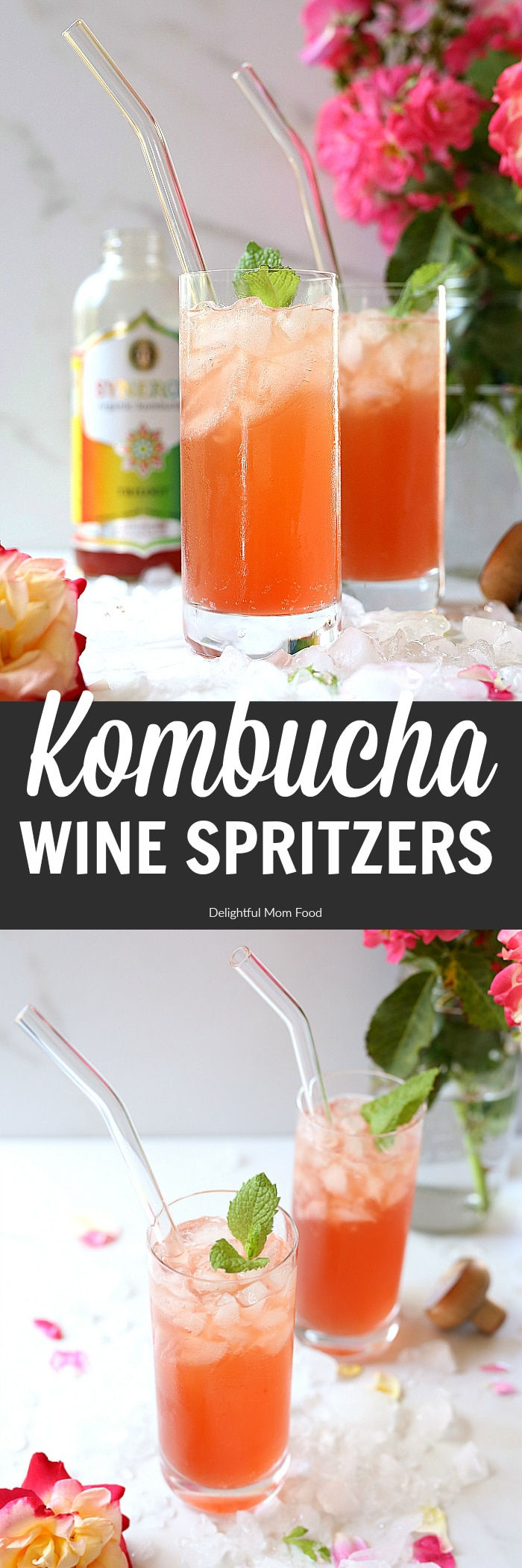 Kombucha wine spritzer – a new light and flavorful blend of a bubbly probiotic drink and white or rosé wine transformed into a refreshing kombucha and wine beverage! If you love wine and you love kombucha you will LOVE this kombucha wine spritzer! Not only is it perfect for mommy happy hours, wind down time, or parties - it is pretty, bright and fun! #kombucha #wine #spritzer #drinks #beverage | Recipe at Delightfulmomfood.com