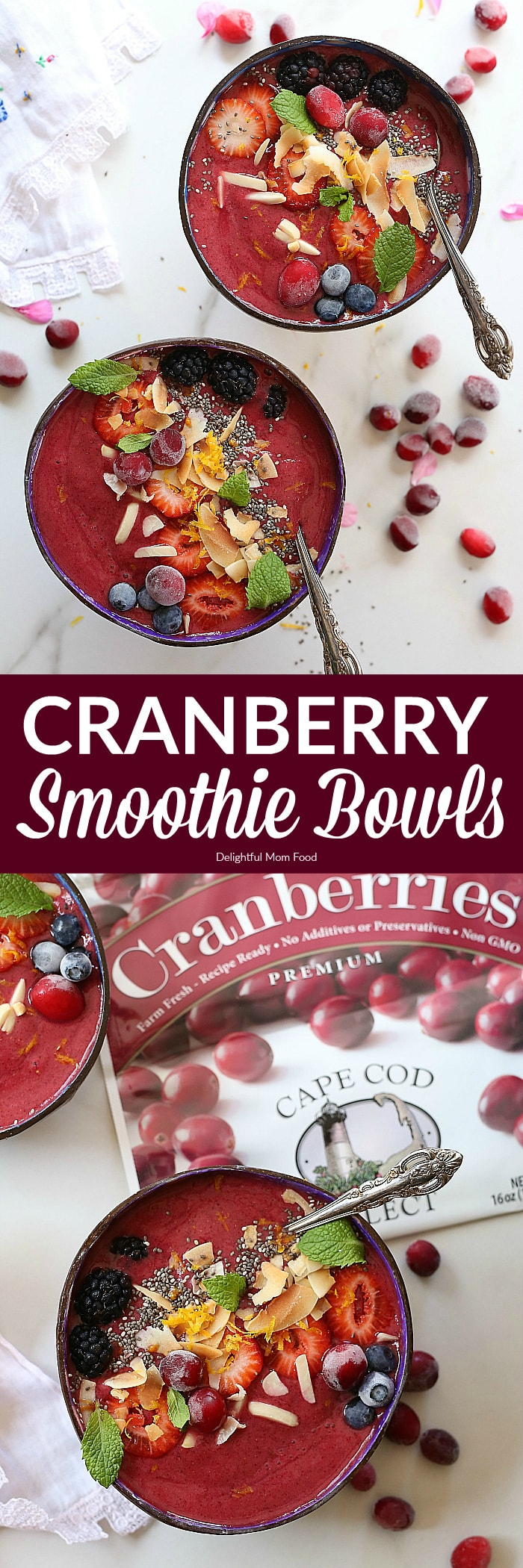 Cranberry Smoothie Bowl- Cranberries blended with zesty fresh orange juice and sweet berries makes this smoothie bowl a winning sweet morning treat! Enjoy it topped with a favorite granola or fresh fruit, chia seeds, toasted coconut and almond slivers for a bit of crunch! #cranberry #smoothie #bowl #recipe #healthy #dairyfree #vegan #glutenfree #healthy #fruit #berry #ad | Recipe at delightfulmomfood.com