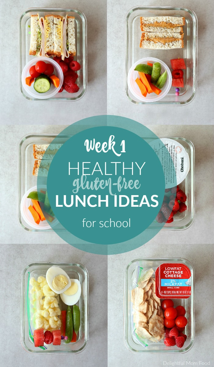 Meal planning Week 1 of healthy gluten free lunch ideas for school! Five gluten-free cold lunch ideas to make your week easier! #glutenfree #lunch #ideas #school #kids #backtoschool #coldlunchideas #kidsschoollunches | Join the series at delightfulmomfood.com