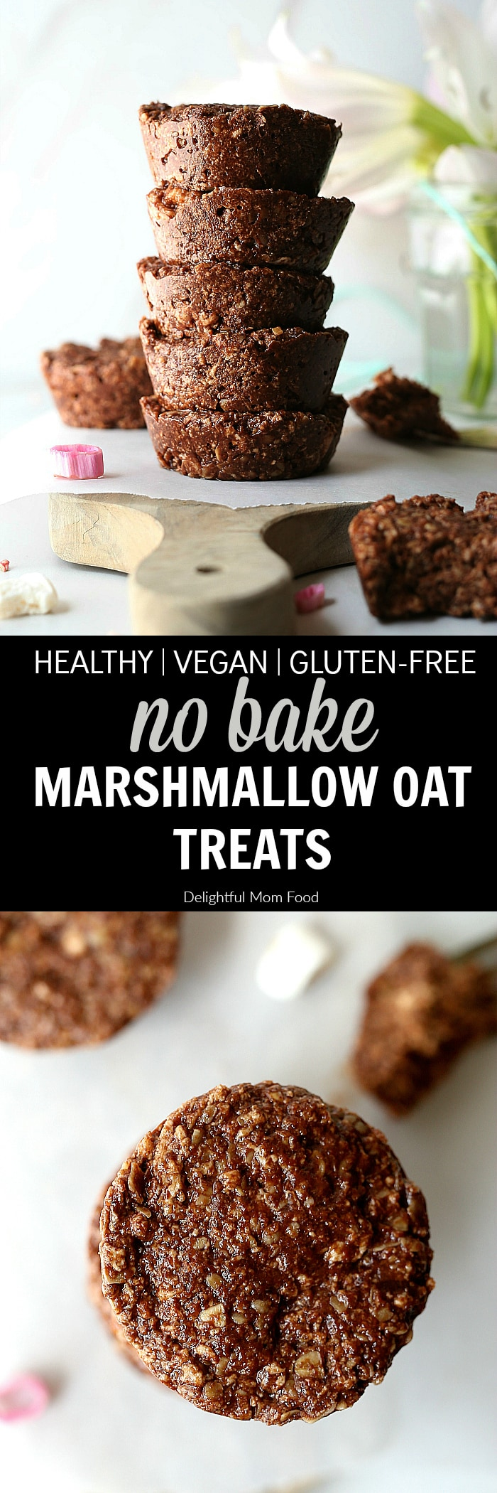 No Bake Treats - Easy no bake treats made with chocolate peanut butter marshmallow and oats taste like a cookie and are naturally gluten-free, vegan and dairy-free. It's a delicious quick dessert or snack treat ready in less than 30 minutes! | #nobake #treats #sweets #recipe #dessert #glutenfree #vegan #healthy #quick #easy #chocolate #peanutbutter #dairyfree #marshmallow | Recipe at delightfulmomfood.com