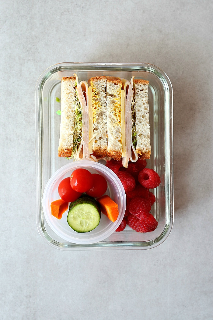 Gluten Free Turkey Cheese Sprouts Sandwich lunch idea