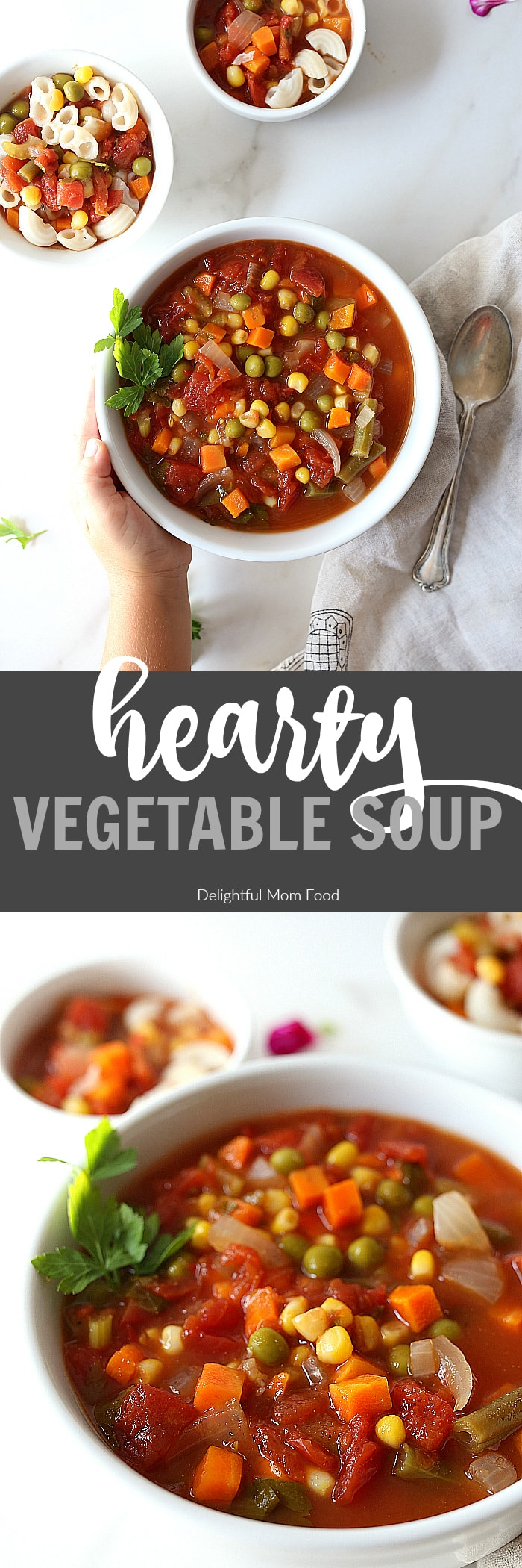 Vegetable soup is healthy and ready in less than 30 minutes! Using organic frozen vegetables in this easy vegetable soup recipe means less dishes and more time! | #vegetable #easy #quick #healthy #recipe #soup #veg #veggie #vegan #vegetarian #glutenfree | Recipe at delightfulmomfood.com