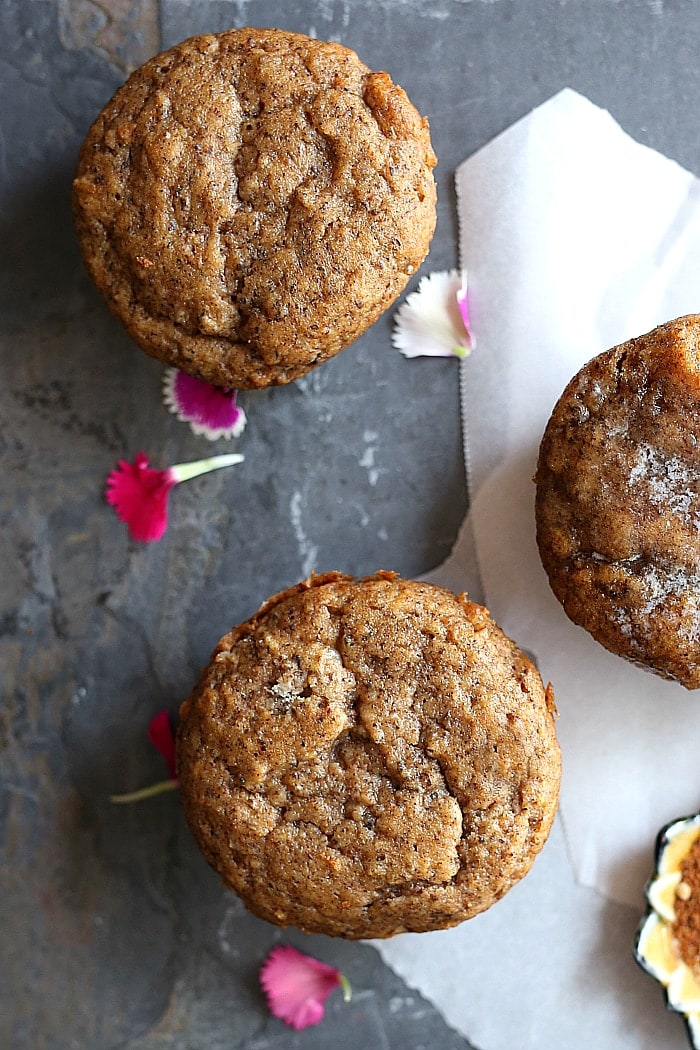 Soft and delicious chai muffins made with gluten-free flours and flax meal for the ultimate fluffy healthy spiced muffin recipe! #recipe #healthy #glutenfree #dairyfree #muffin #muffins #chai #spice #spiced   Recipe at delightfulmomfood.com
