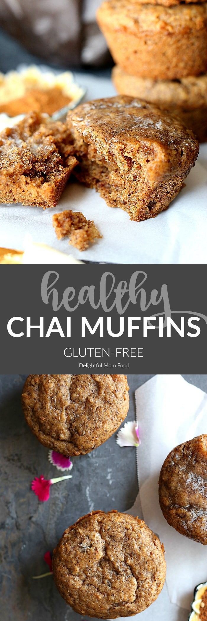 Soft and delicious chai muffins made with gluten-free flours and flax meal for the ultimate fluffy healthy spiced muffin recipe! #recipe #healthy #glutenfree #dairyfree #muffin #muffins #chai #spice #spiced | Recipe at delightfulmomfood.com