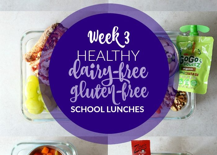 Healthy dairy free and gluten free school lunches. Each meal includes fruits, vegetables, carbohydrate, and protein with a shopping list for the week to make healthy lunches easier! | #healthy #glutenfree #dairyfree #school #lunches #lunch #ideas #kids #lunchbox | Delightfulmomfood.com