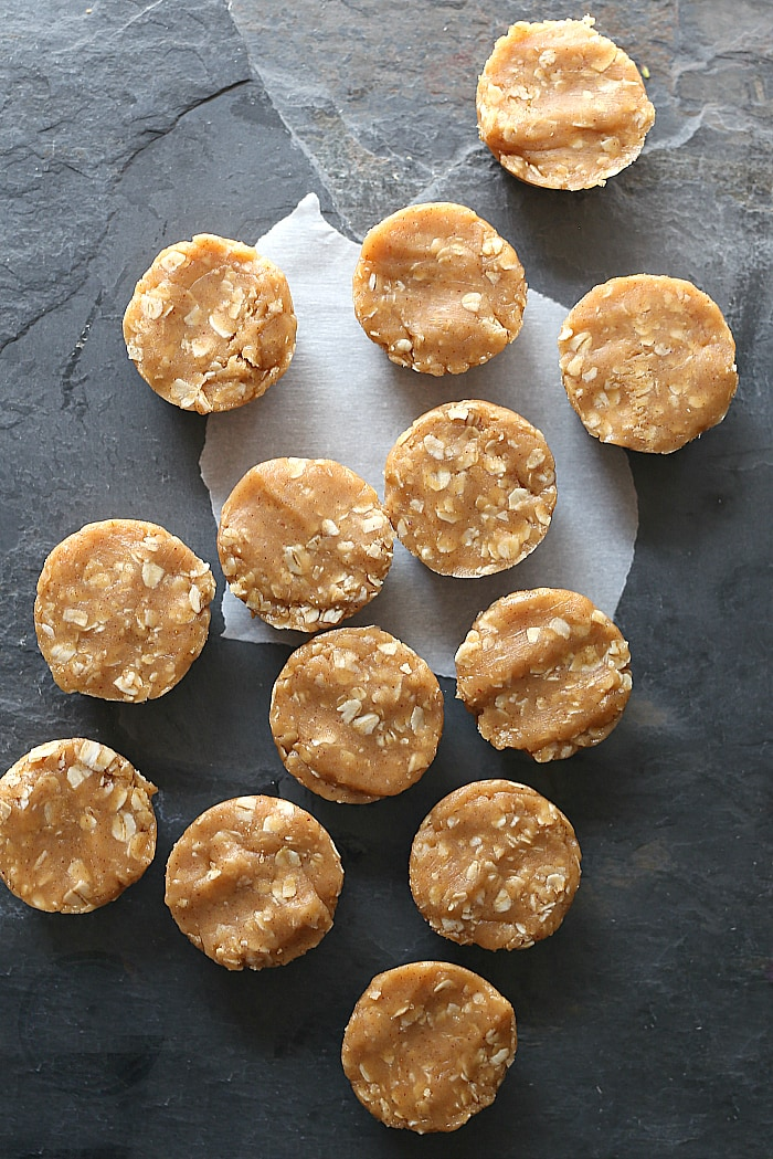 No Bake Peanut Butter Oatmeal Cookies Pressed in a Muffin Pan