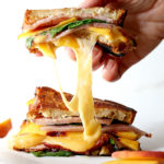 Gourmet Grilled Cheese With Ham, Gouda, Spinach & Peaches