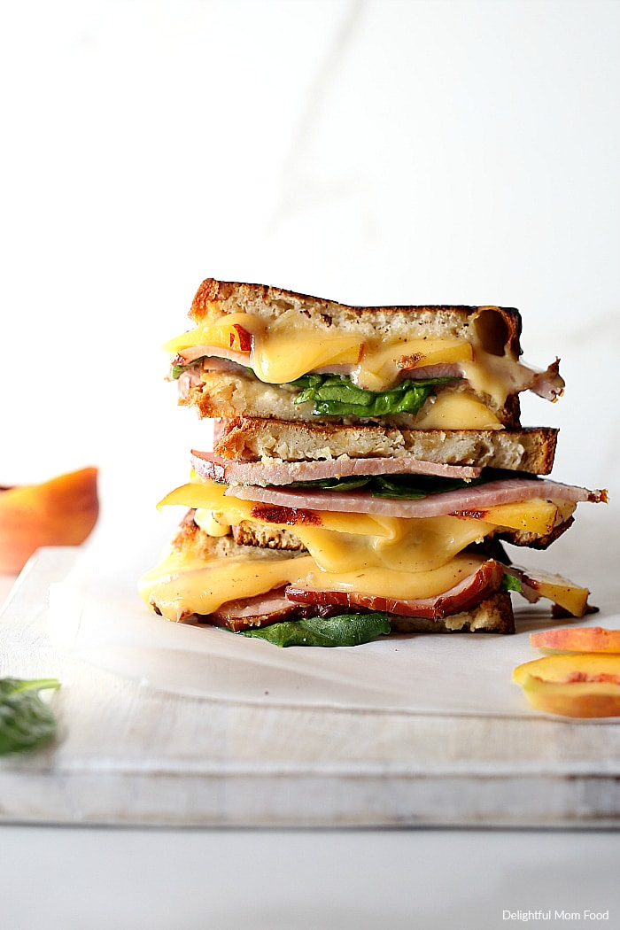 Gourmet grilled cheese sandwich oozing with melted gouda cheese and thick ham slices nestled between two buttery gluten-free slices of bread. This adult-style cheese sandwich can be made on the skillet or grilled outdoors!#fricks #smokedmeats #itsfrickingood #glutenfree #grilled #cheese #ham #sandwich #gourmet | Recipe at delightfulmomfood.com