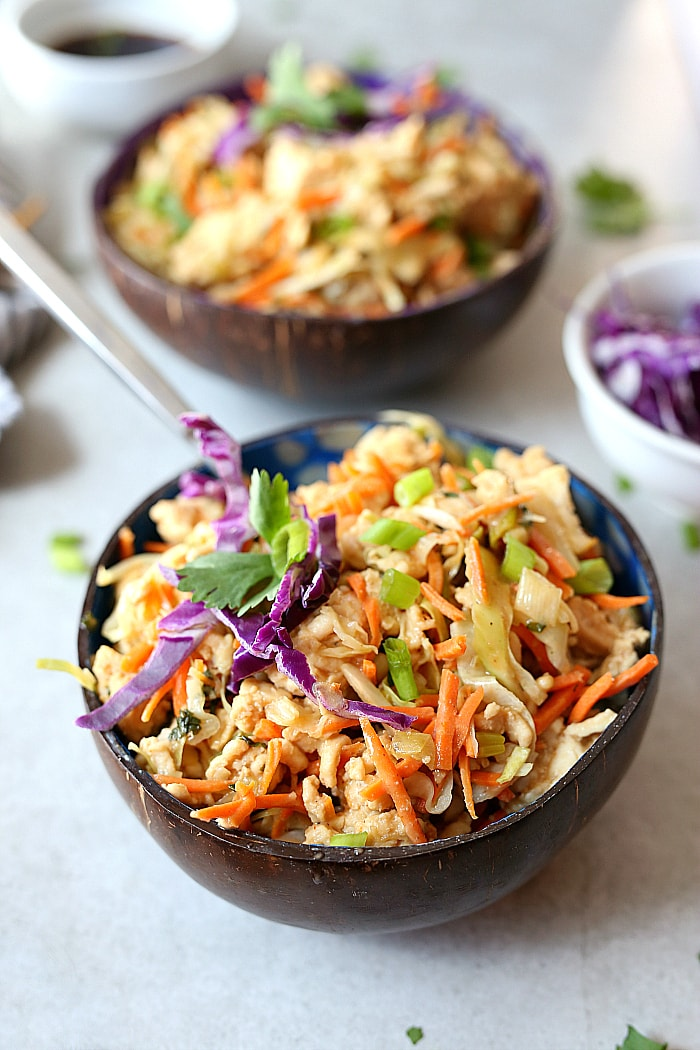 Thai peanut sauce tossed with ground turkey and cabbage makes this meal low carb and deliciously flavorful! Ready in 20 minutes! #thai #peanut #sauce #groundturkey #cabbage #bowls #lowcarb #healthy #glutenfree #recipe #onepan #easy #quick | Recipe at delightfulmomfood.com