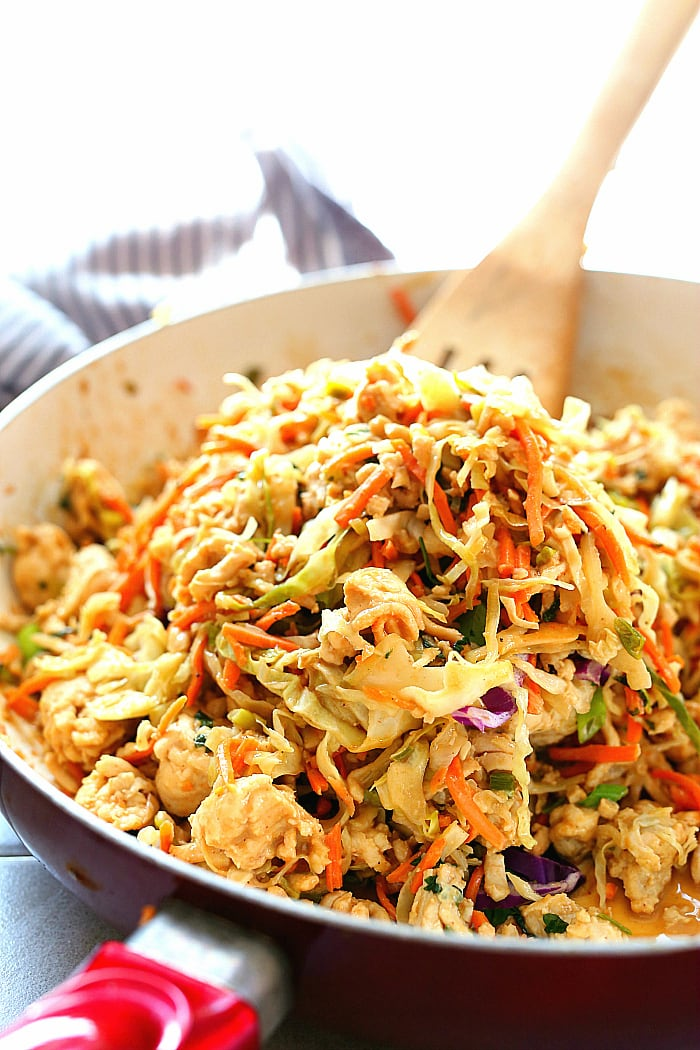 Low-carb Thai peanut sauce ground turkey bowls are a lovely mix of sweet and savory peanut butter maple flavors, crunchy cabbage & ground turkey in this easy Asian inspired one-pan meal! #thai #peanut #sauce #groundturkey #cabbage #bowls #lowcarb #healthy #glutenfree #recipe #onepan #easy #quick   Recipe at delightfulmomfood.com