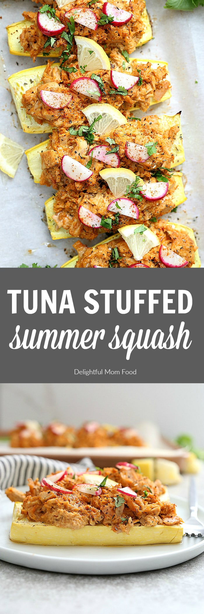 Tuna stuffed yellow summer squash is a delicious low-carb meal. Use a zucchini or a yellow courgette as the boat and bake it stuffed with this lightened-up yet filling tuna salad. #recipe #lowcarb #glutenfree #grainfree #tuna #stuffed #yellow #squash #healthy #easy | delightfulmomfood.com