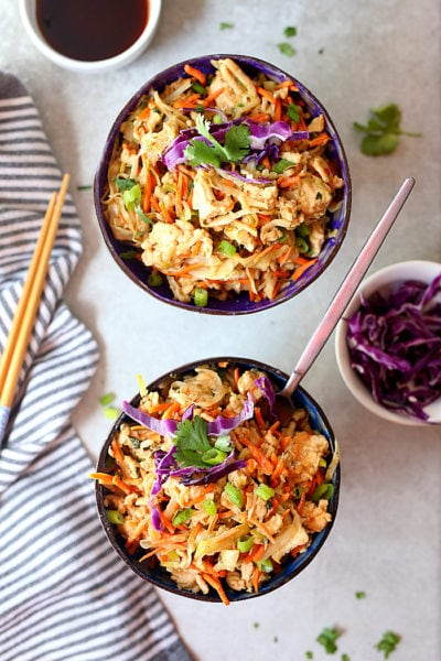 Thai Peanut Sauce Ground Turkey & Cabbage Bowls