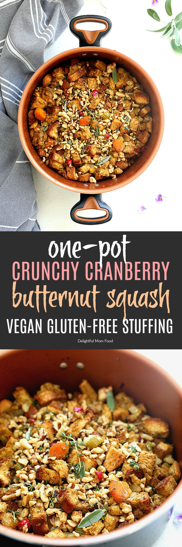 Crunchy water chestnuts make this gluten-free stuffing recipe the talk of the town! It is full of comforting fall flavors of cranberry and butternut squash and is easily sautéed and baked in a dutch oven for little clean-up! #farberware #stuffing #recipe #ad #easy #onepot #onepan #glutenfree #Farberwarecookware #Farberwareglide | delightfulmomfood.com