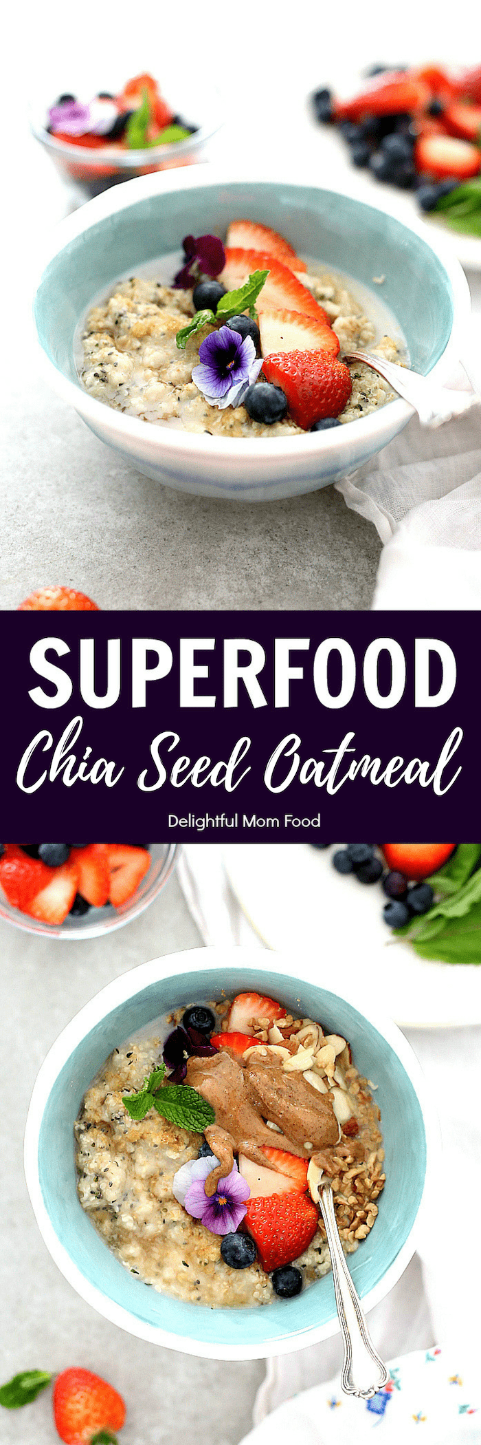 Start the morning fueled and energized with this superfood hemp and chia seed oatmeal bowl! It is packed naturally with fiber, protein and omega's that will make you feel alert, balanced and full! #oatmeal #chiaseed #hempseed #vegan #glutenfree #healthy #quick #superfood #flaxmeal #recipe #breakfast | Recipe at delightfulmomfood.com