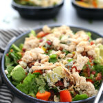 Looking for easy meals for dinner the whole family will enjoy? Conquermeal time with these chicken meal prep ideas using similar ingredients! Pulled chicken breast cobb salad, chicken wrap and chicken quinoa bowls are easy, wholesome and gluten free! #chicken #meal #prep #ideas #recipe #glutenfree #wholesome @tysonsbrand #ad | Recipe at delightfulmomfood.com