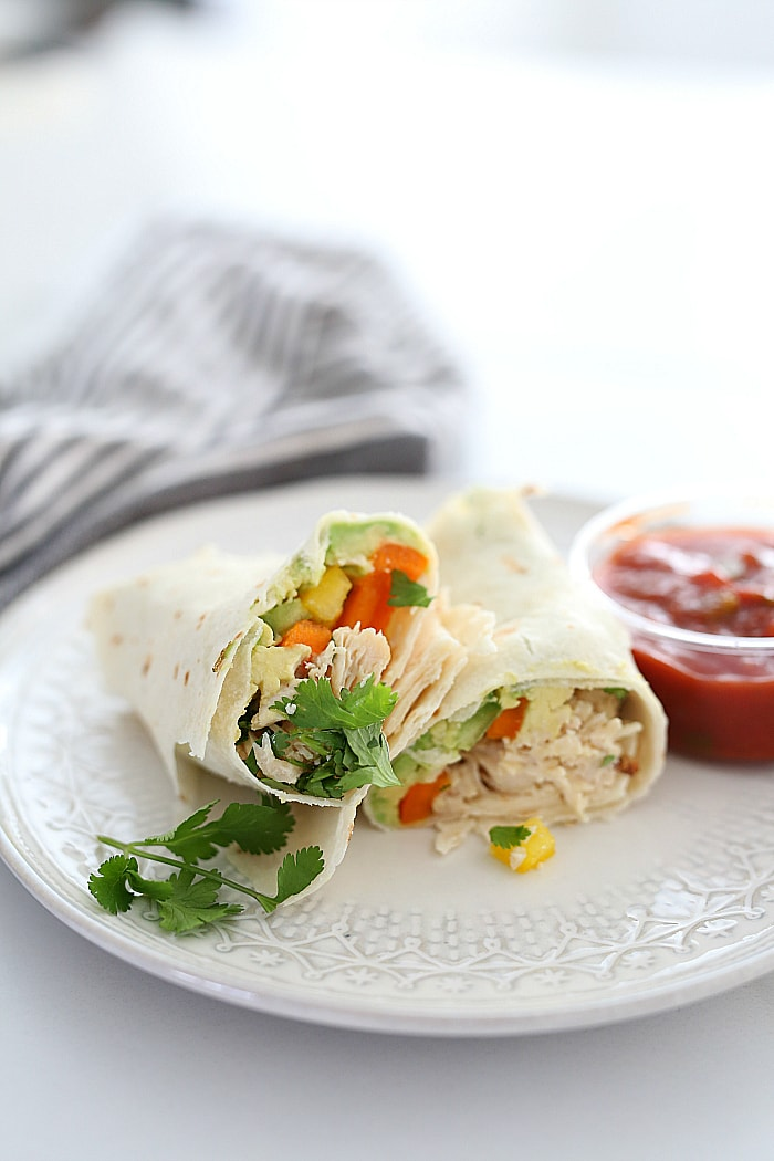 Chicken wrap using precooked frozen chicken makes dinners and lunches a breeze!