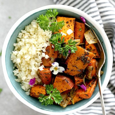 Savory Roasted Sweet Potatoes + Cauliflower Rice Buddha Bowl